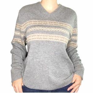 Black Brown 1826 men's large v-neck wool sweater